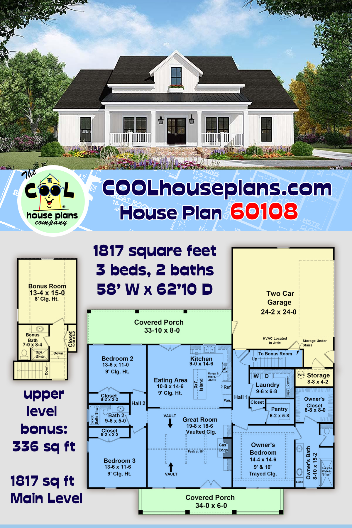 Country, Farmhouse, Ranch House Plan 60108 with 3 Beds, 2 Baths, 2 Car Garage