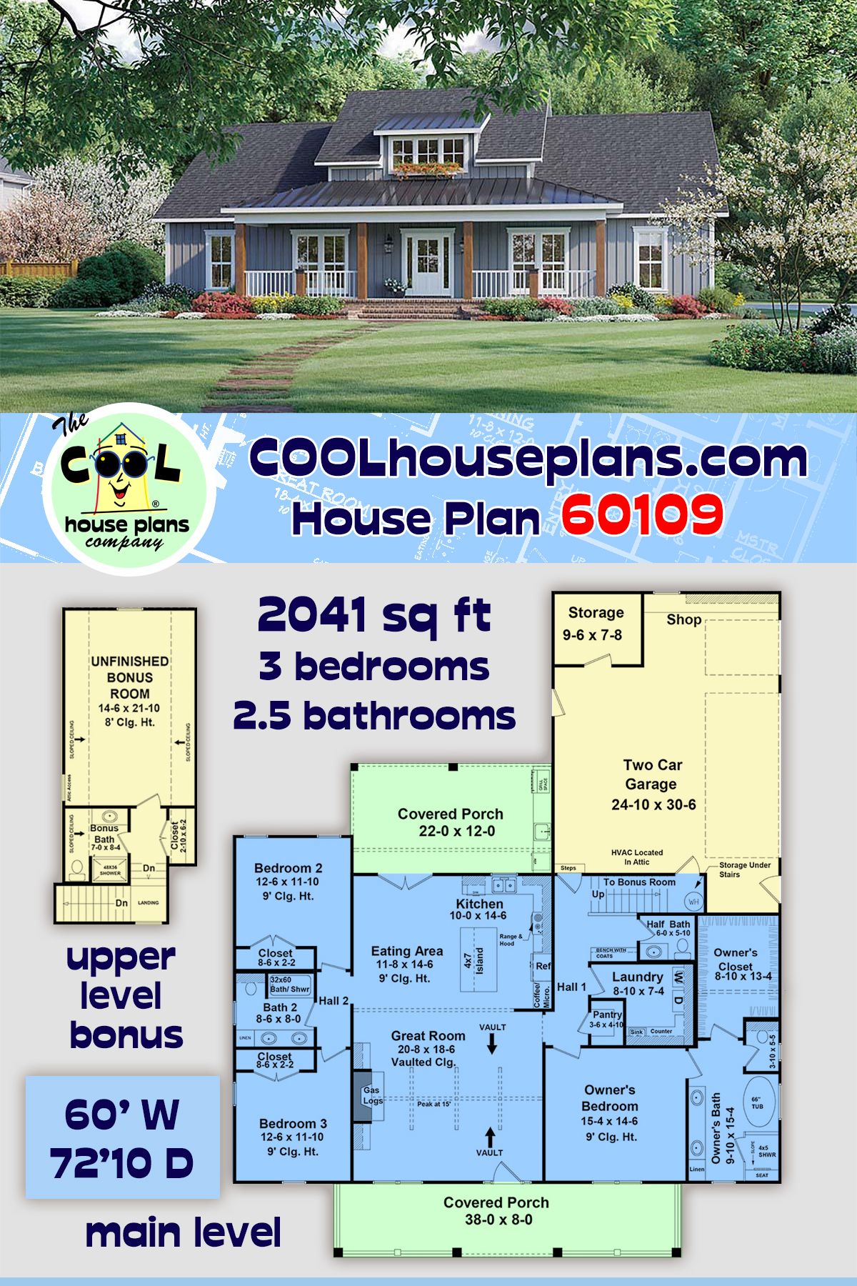 Country, Farmhouse, Ranch House Plan 60109 with 3 Beds, 3 Baths, 2 Car Garage