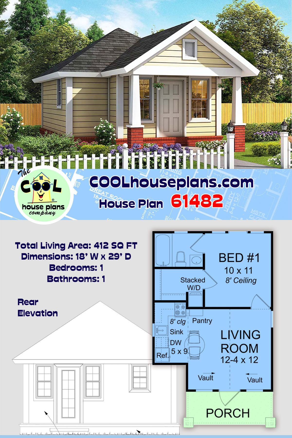 Cottage, Traditional House Plan 61482 with 1 Beds, 1 Baths