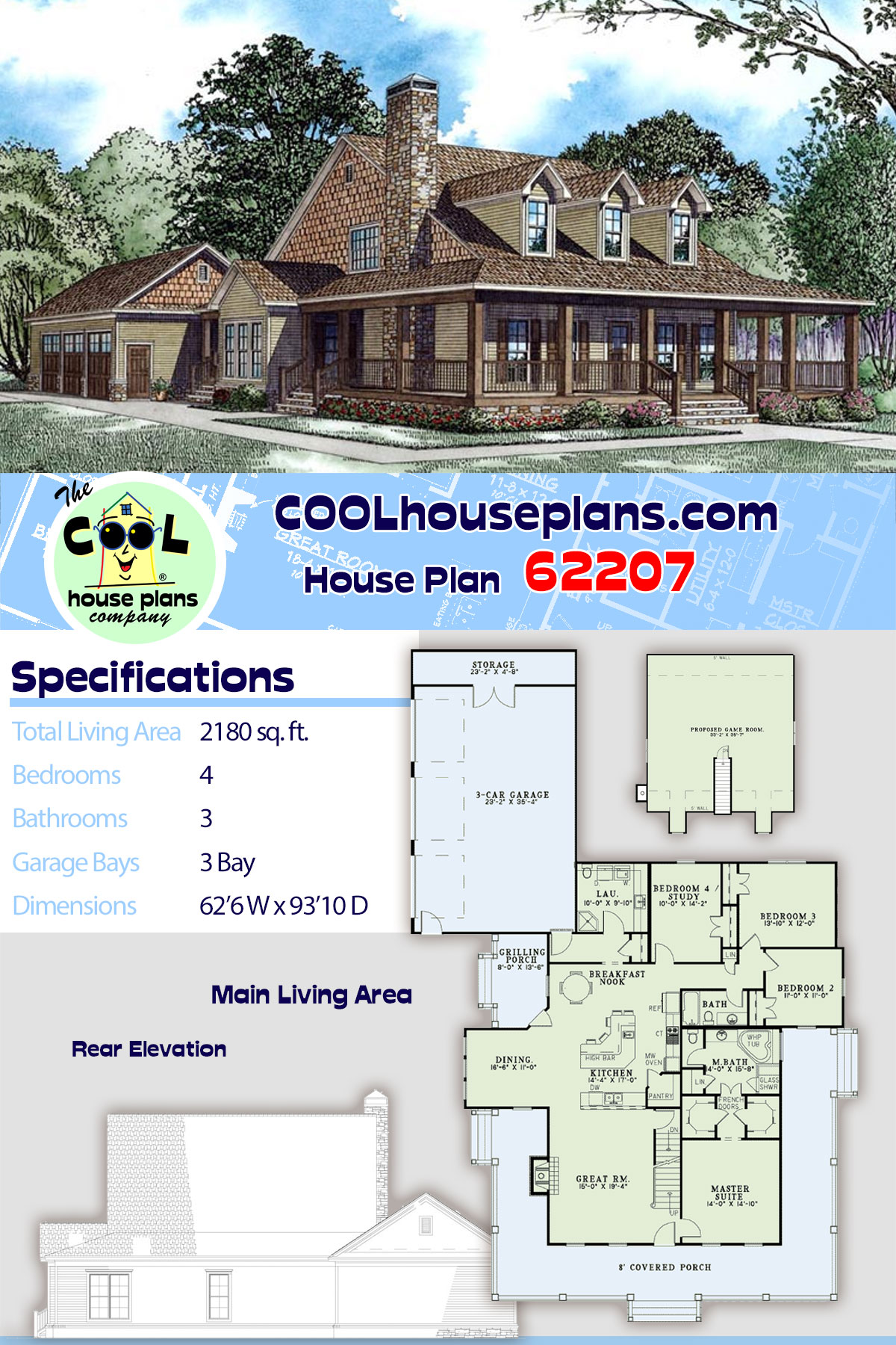 Country, Farmhouse House Plan 62207 with 4 Beds, 3 Baths, 3 Car Garage