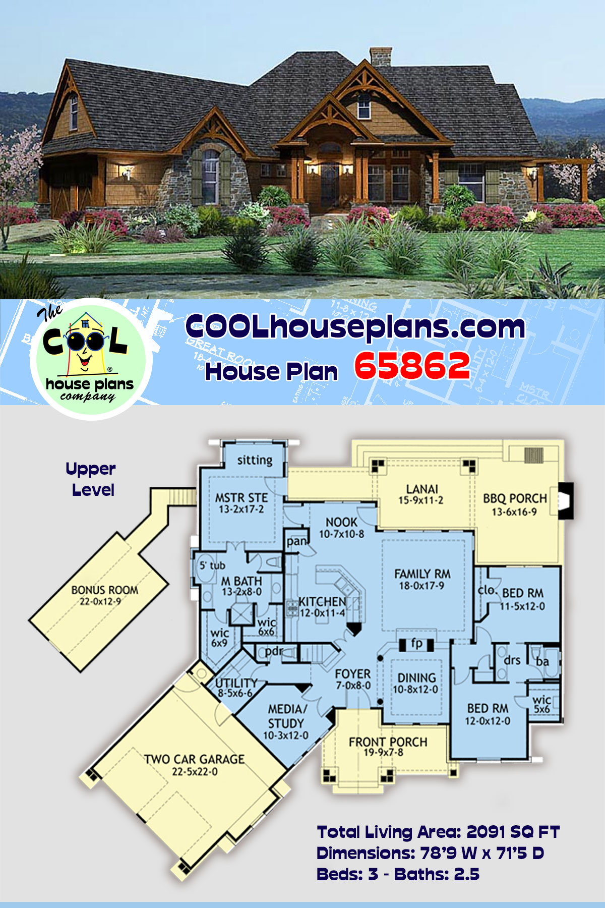 Cottage, Craftsman, Tuscan House Plan 65862 with 3 Beds, 3 Baths, 2 Car Garage