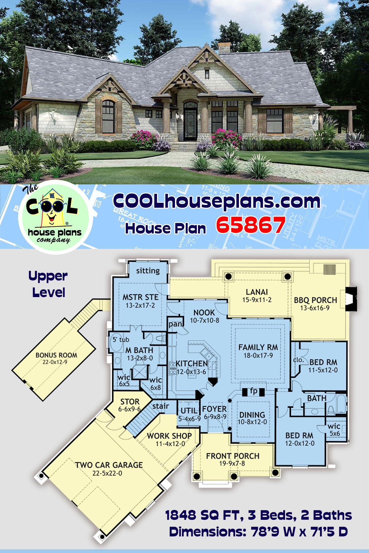 Cottage, Craftsman, Tuscan House Plan 65867 with 3 Beds, 2 Baths, 2 Car Garage