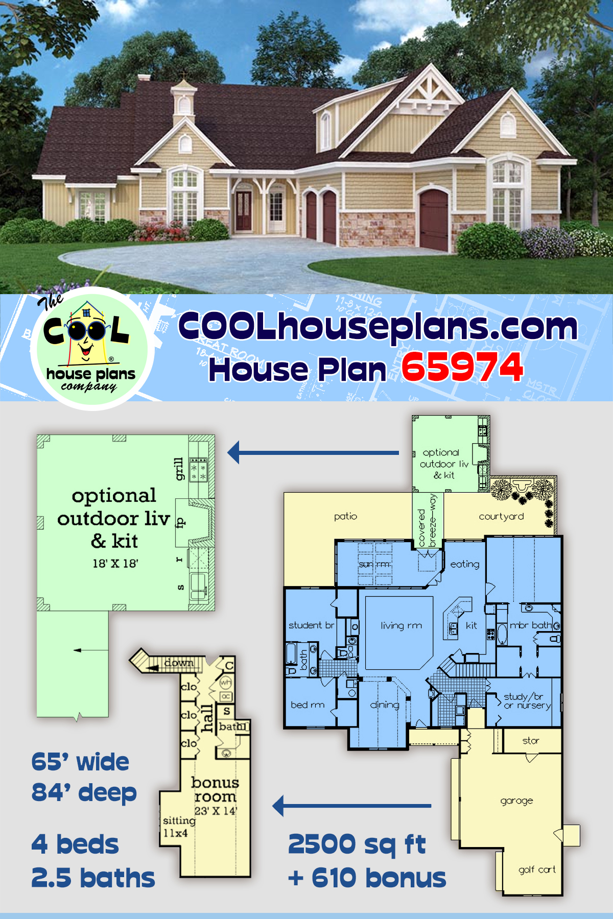 Traditional House Plan 65974 with 4 Beds, 3 Baths, 2 Car Garage