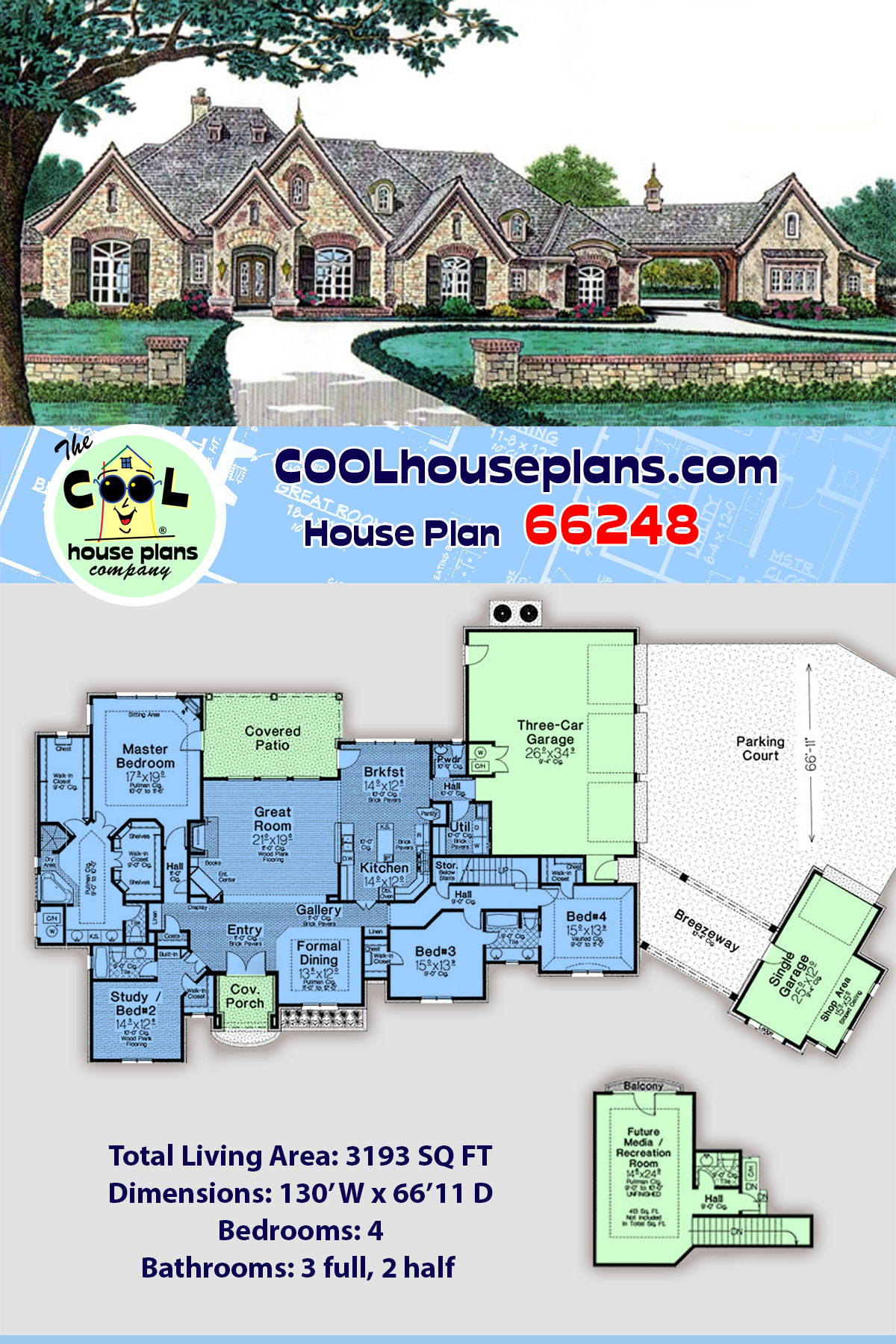 European, French Country House Plan 66248 with 4 Beds, 5 Baths, 4 Car Garage