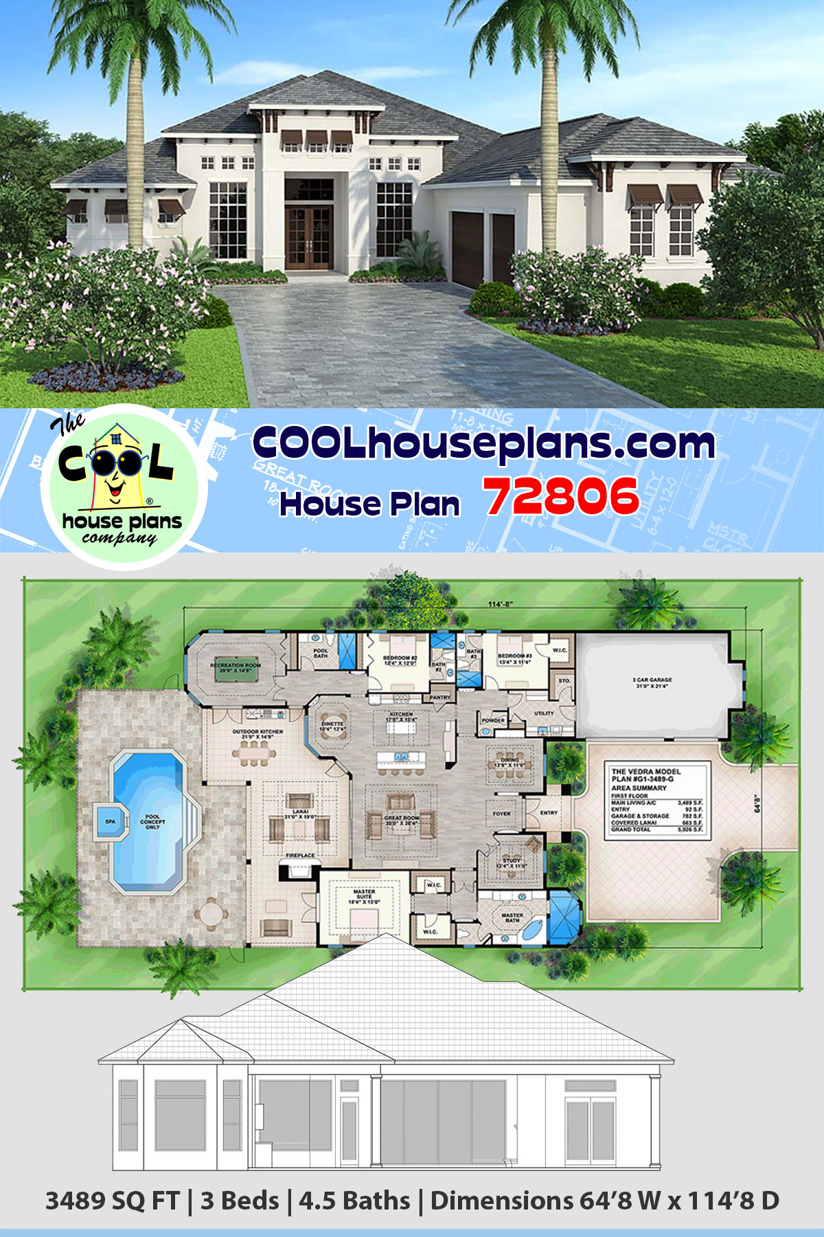Coastal, Florida, Mediterranean House Plan 72806 with 3 Beds, 5 Baths, 3 Car Garage