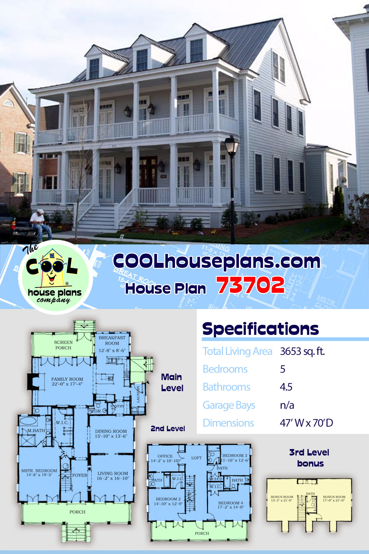 Historic, Narrow Lot House Plan 73702 with 5 Beds, 5 Baths