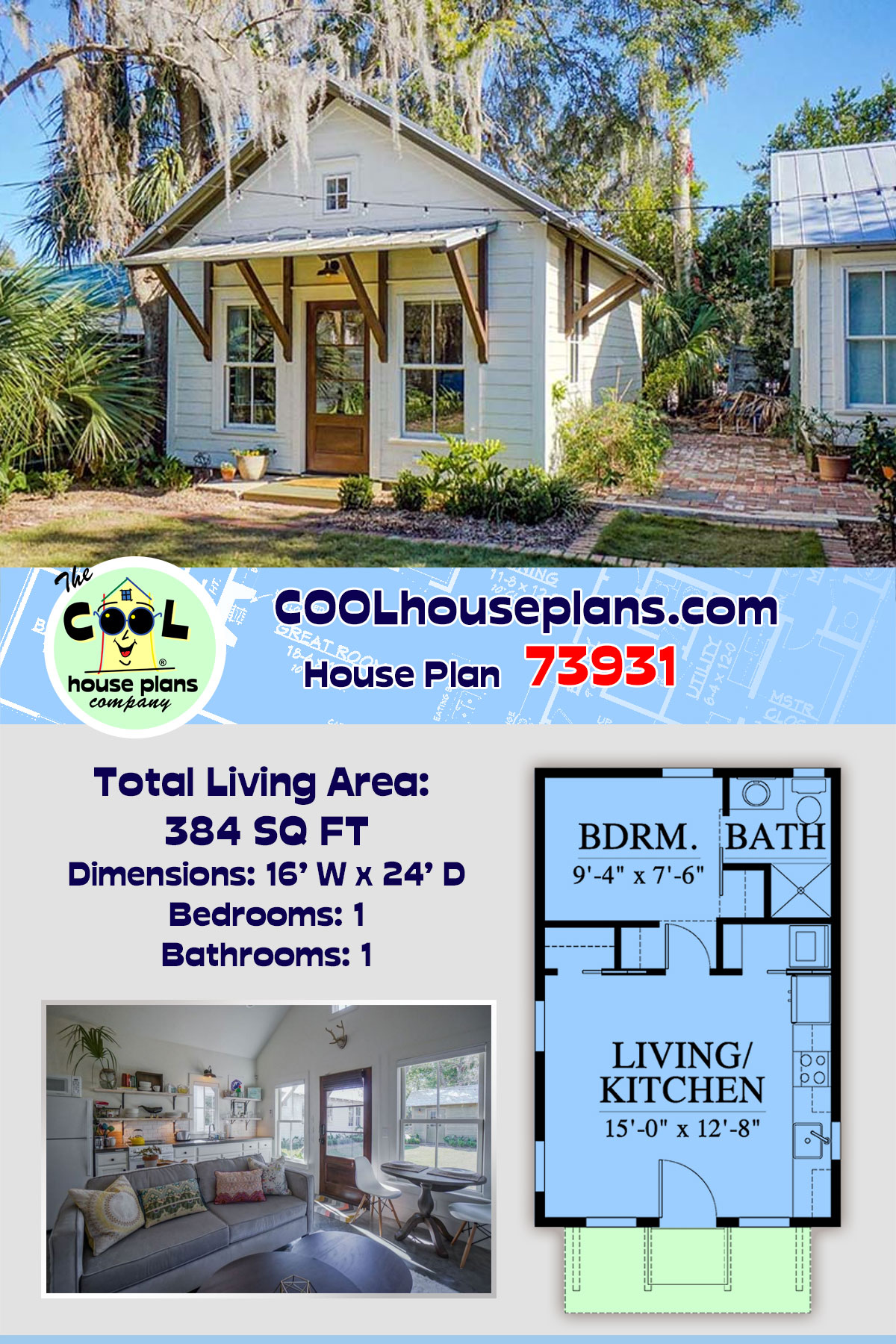 Cabin, Cottage, Southern House Plan 73931 with 1 Beds, 1 Baths