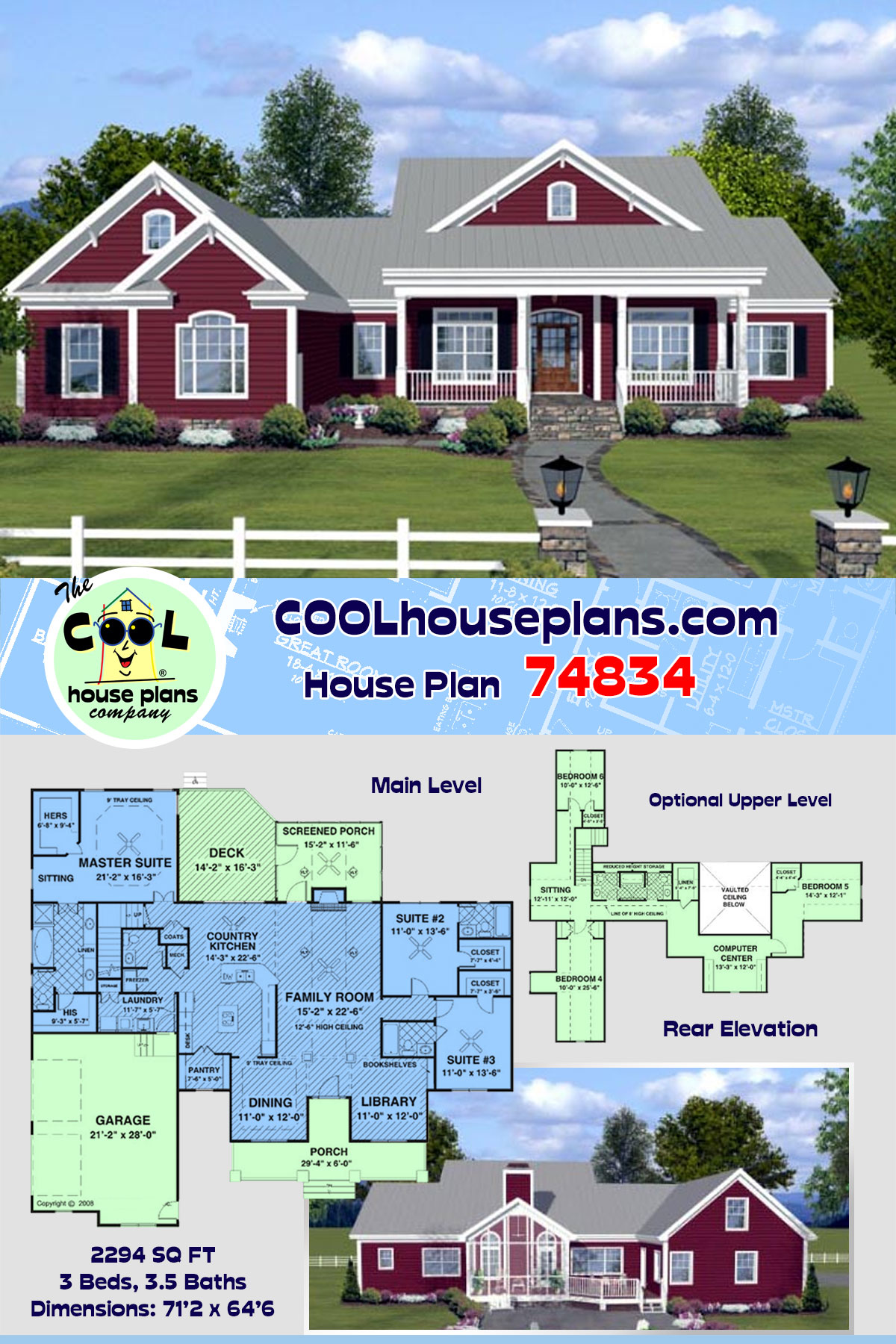 Country, Farmhouse, Ranch House Plan 74834 with 3 Beds, 4 Baths, 2 Car Garage
