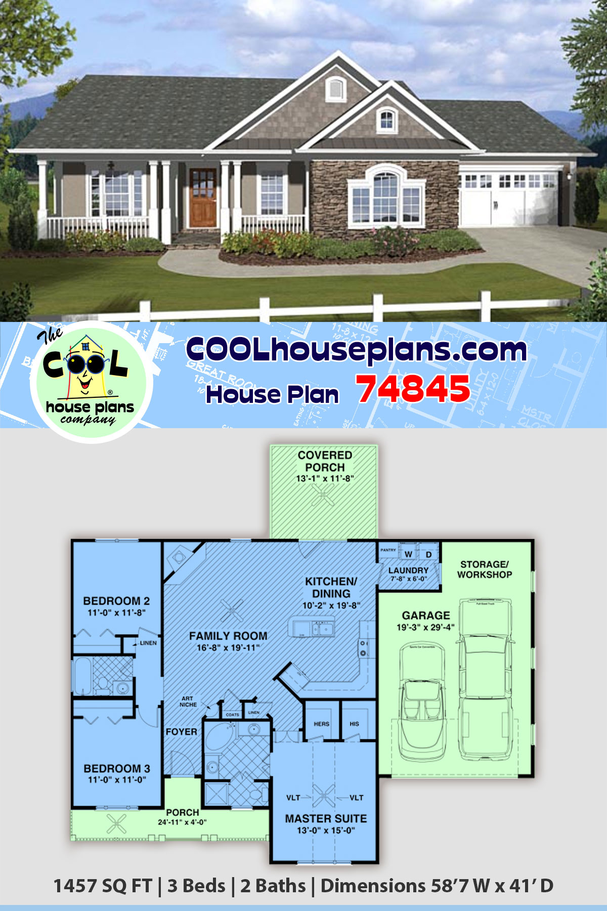 Country, Ranch, Traditional House Plan 74845 with 3 Beds, 2 Baths, 2 Car Garage
