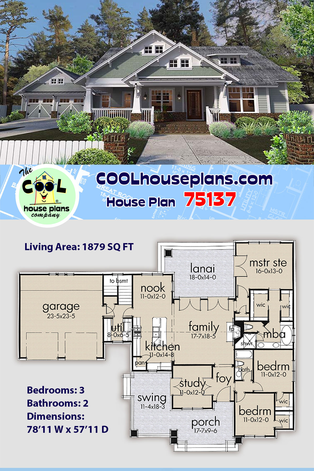 Bungalow, Cottage, Craftsman House Plan 75137 with 3 Beds, 2 Baths, 2 Car Garage