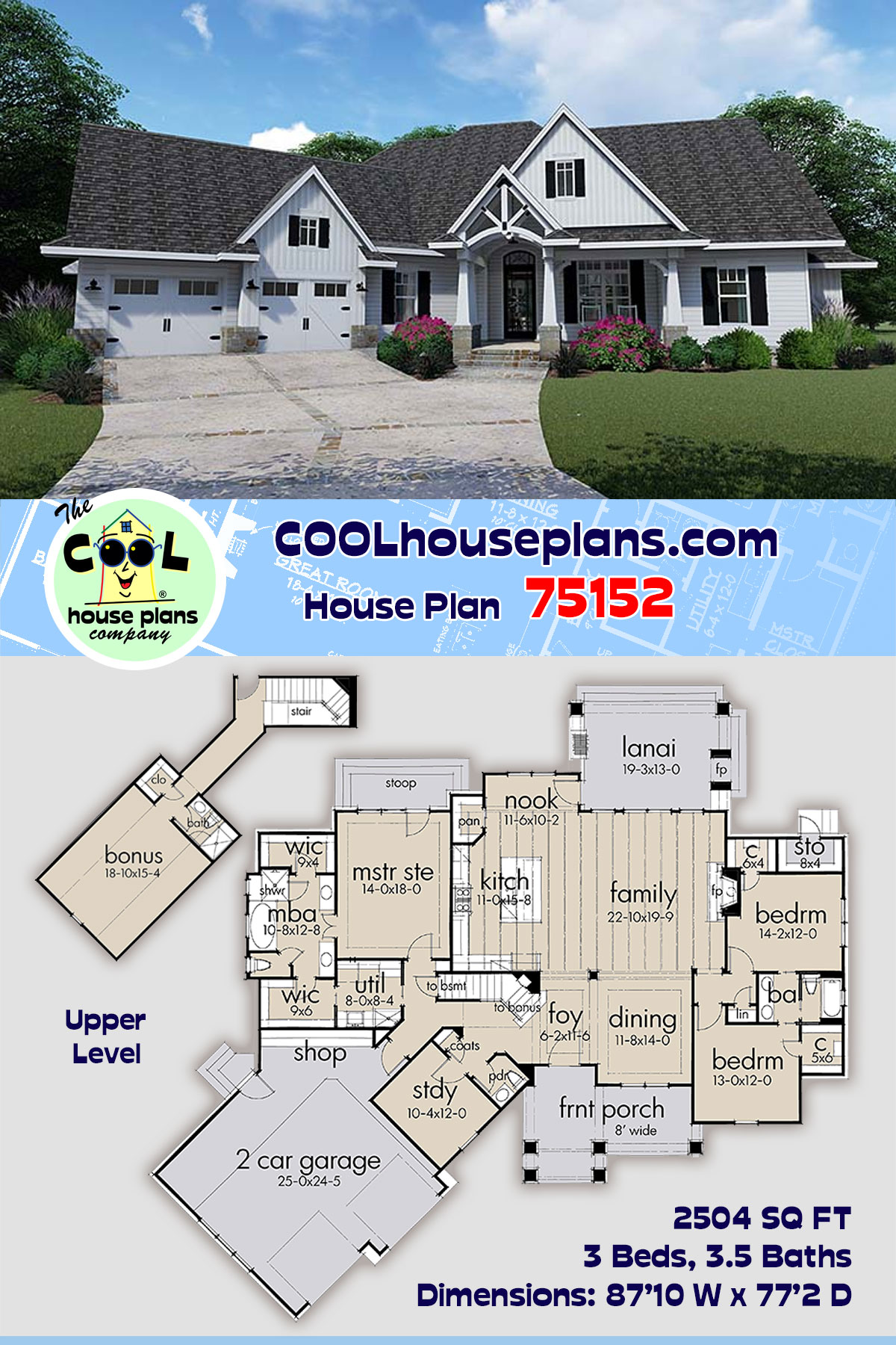 Cottage, Country, Farmhouse, Southern, Traditional House Plan 75152 with 3 Beds, 4 Baths, 2 Car Garage