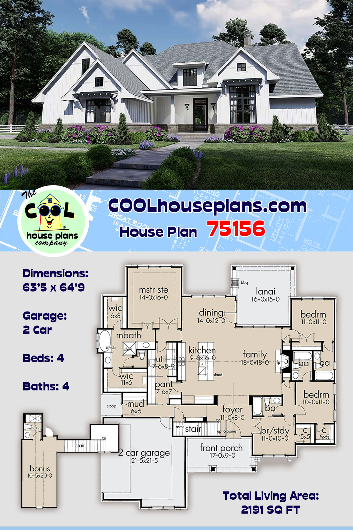 Country, Farmhouse, Southern House Plan 75156 with 4 Beds, 4 Baths, 2 Car Garage