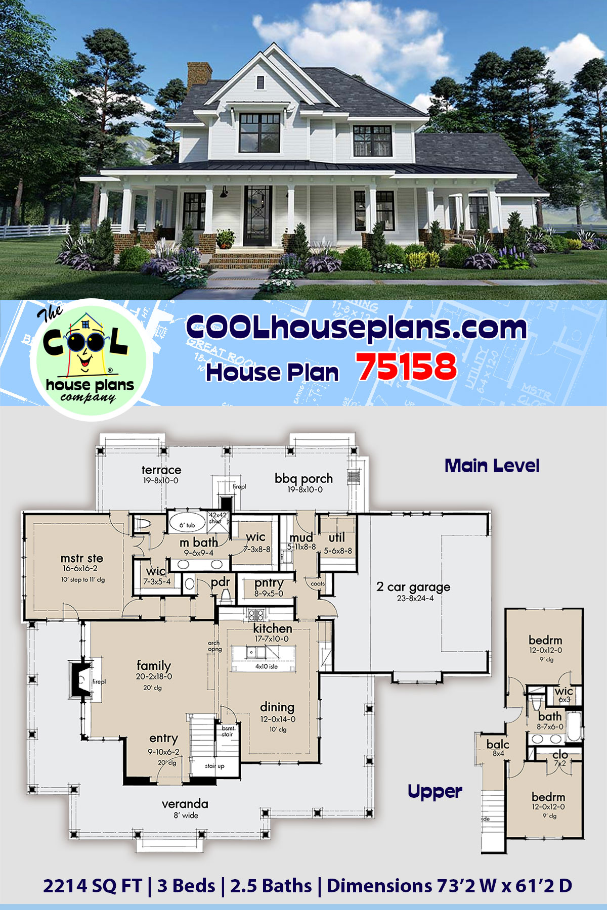 Country, Farmhouse, Southern House Plan 75158 with 3 Beds, 3 Baths, 2 Car Garage