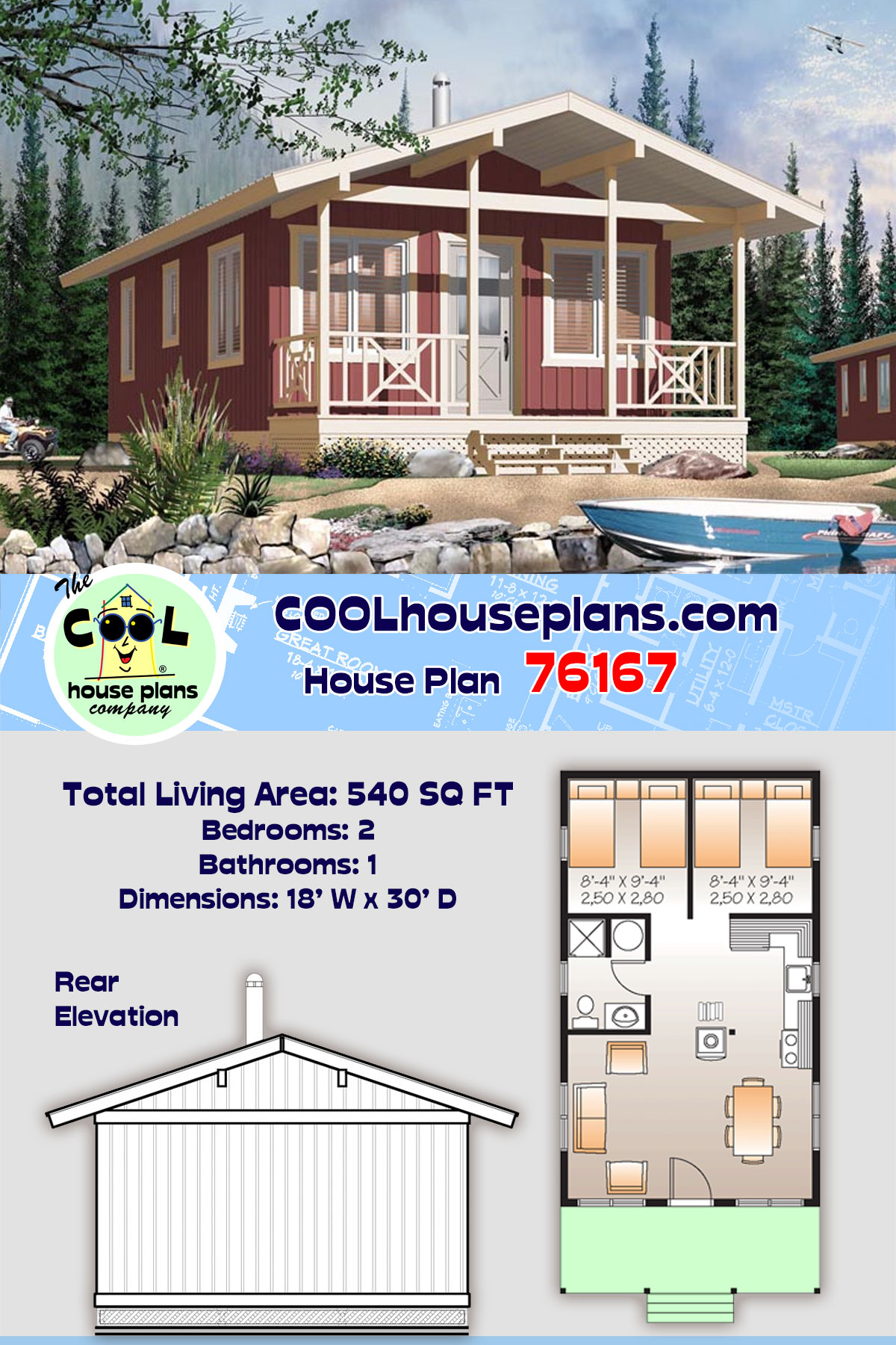 Cabin House Plan 76167 with 2 Beds, 1 Baths