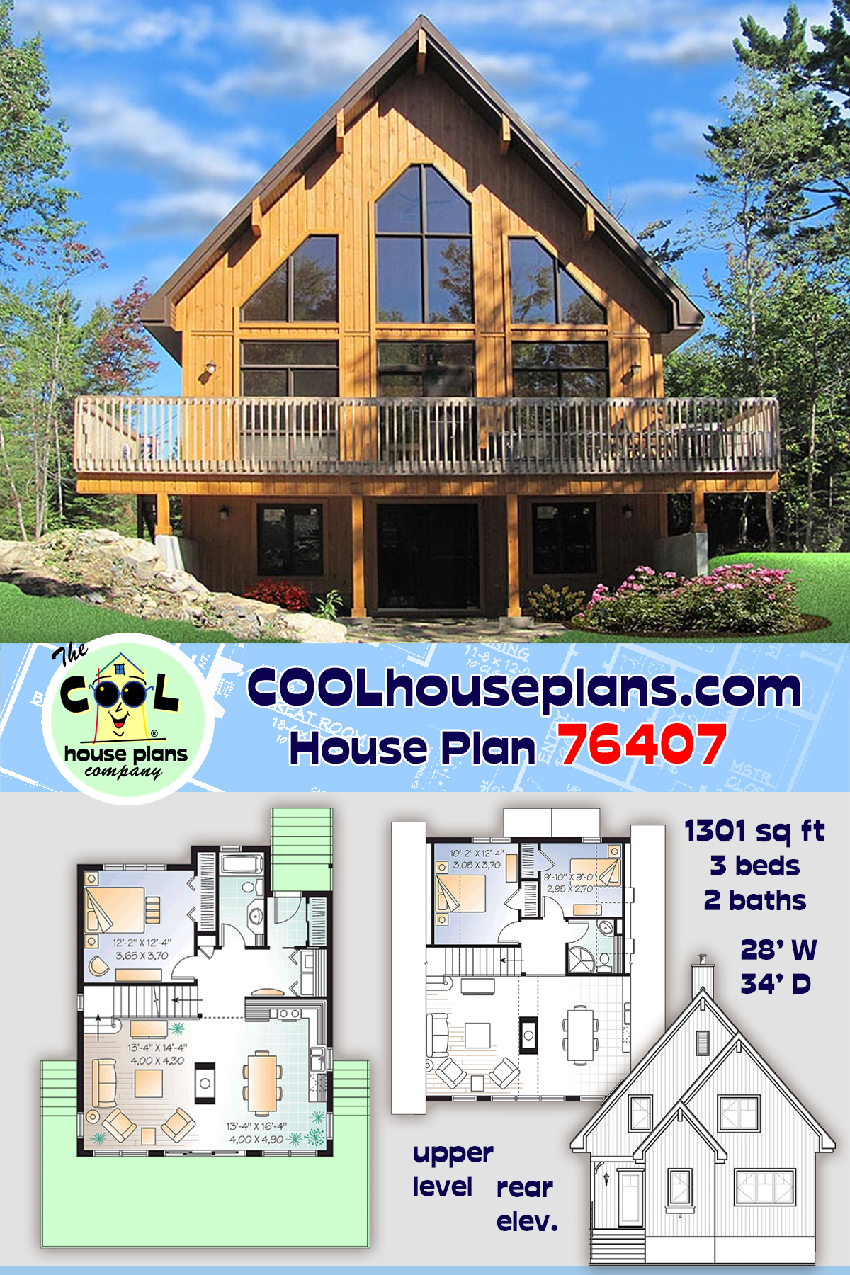 Cabin, Contemporary House Plan 76407 with 3 Beds, 2 Baths