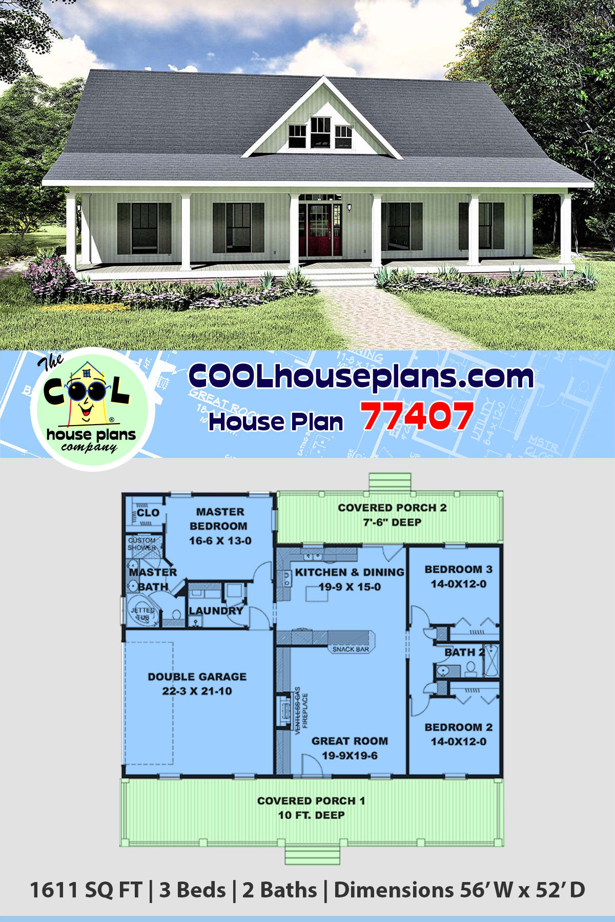 Country, Southern House Plan 77407 with 3 Beds, 2 Baths, 2 Car Garage