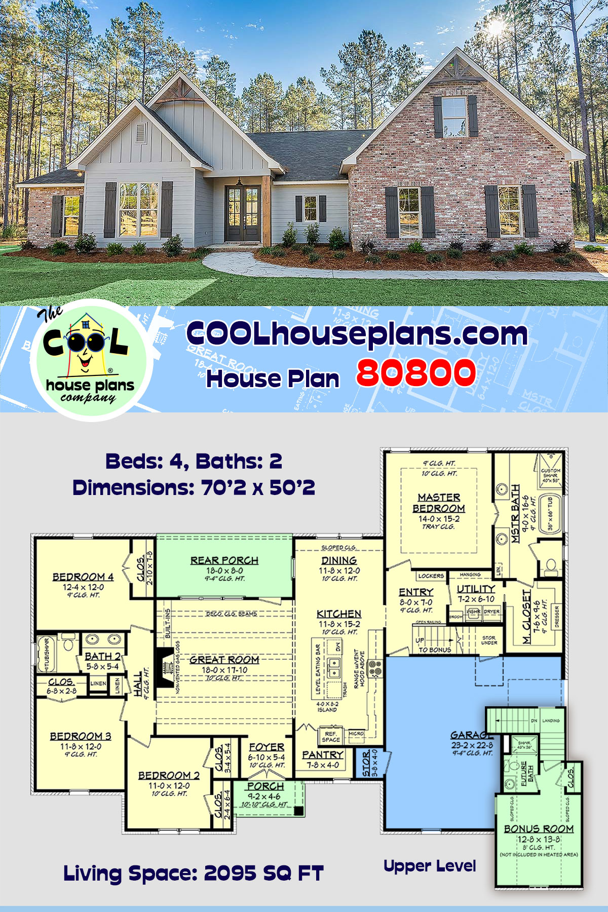 Country, Farmhouse, Traditional House Plan 80800 with 4 Beds, 2 Baths, 2 Car Garage
