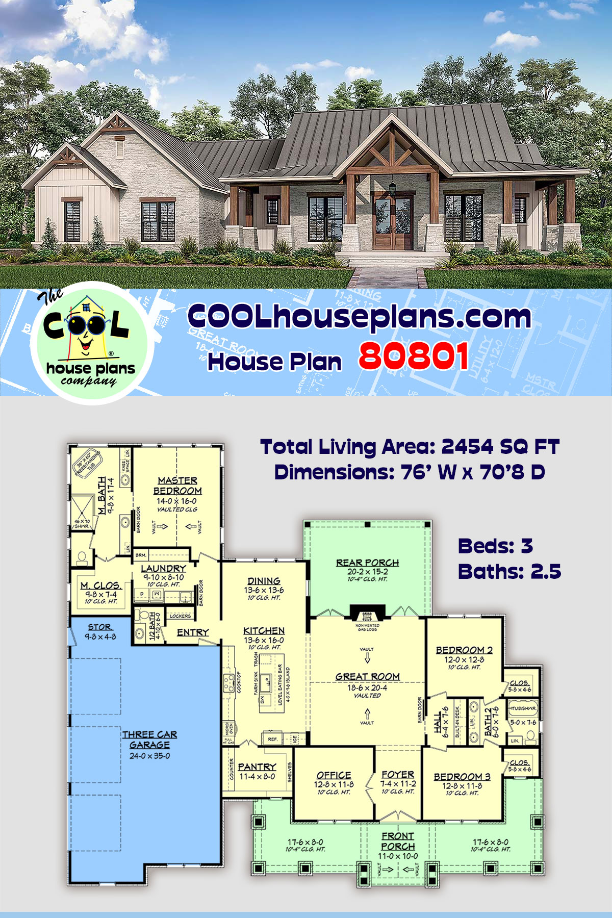 Country, Farmhouse, Traditional House Plan 80801 with 3 Beds, 3 Baths, 3 Car Garage