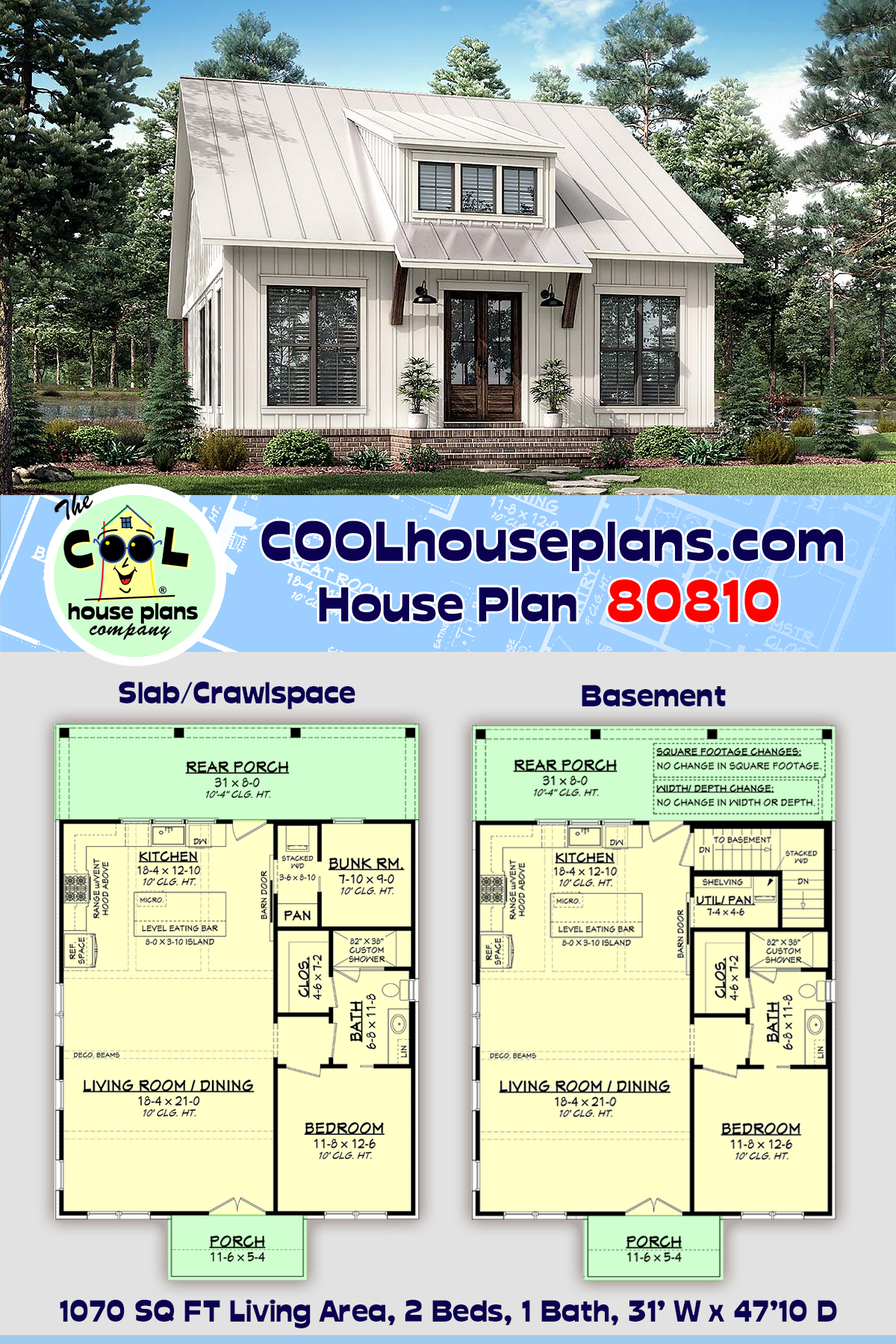 Cottage, Farmhouse, French Country, Southern House Plan 80810 with 2 Beds, 1 Baths