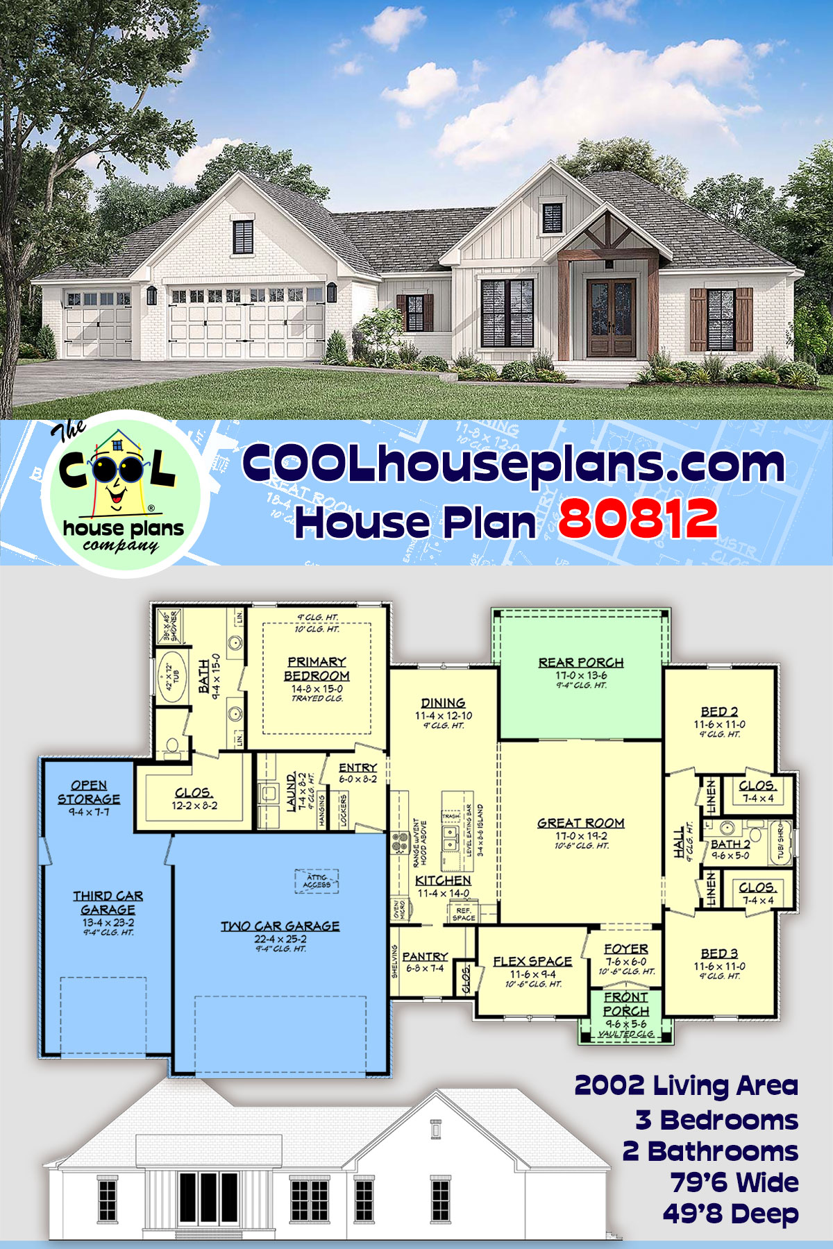 Country, Farmhouse, Traditional House Plan 80812 with 3 Beds, 2 Baths, 3 Car Garage