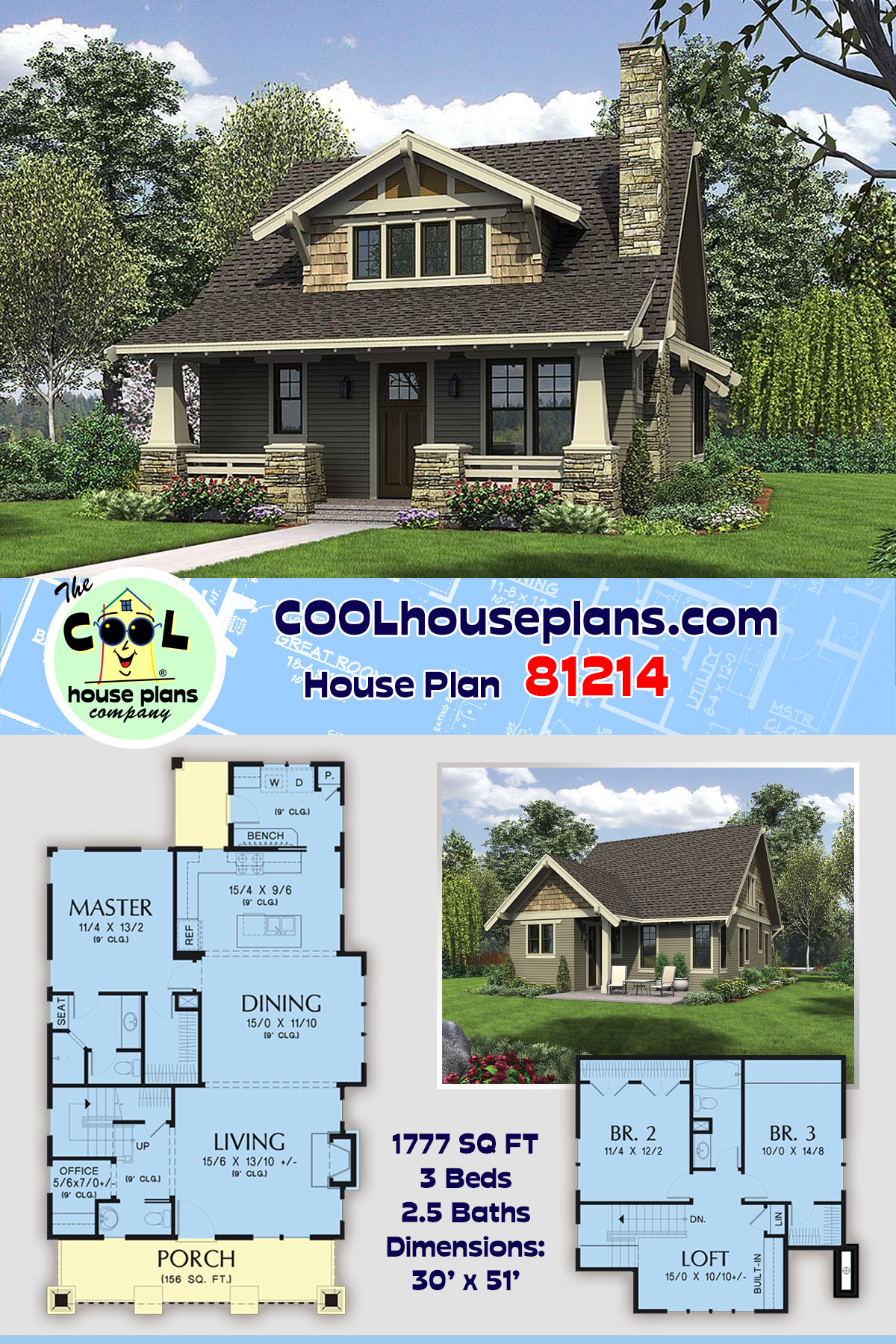 Bungalow, Cottage, Craftsman House Plan 81214 with 3 Beds, 3 Baths