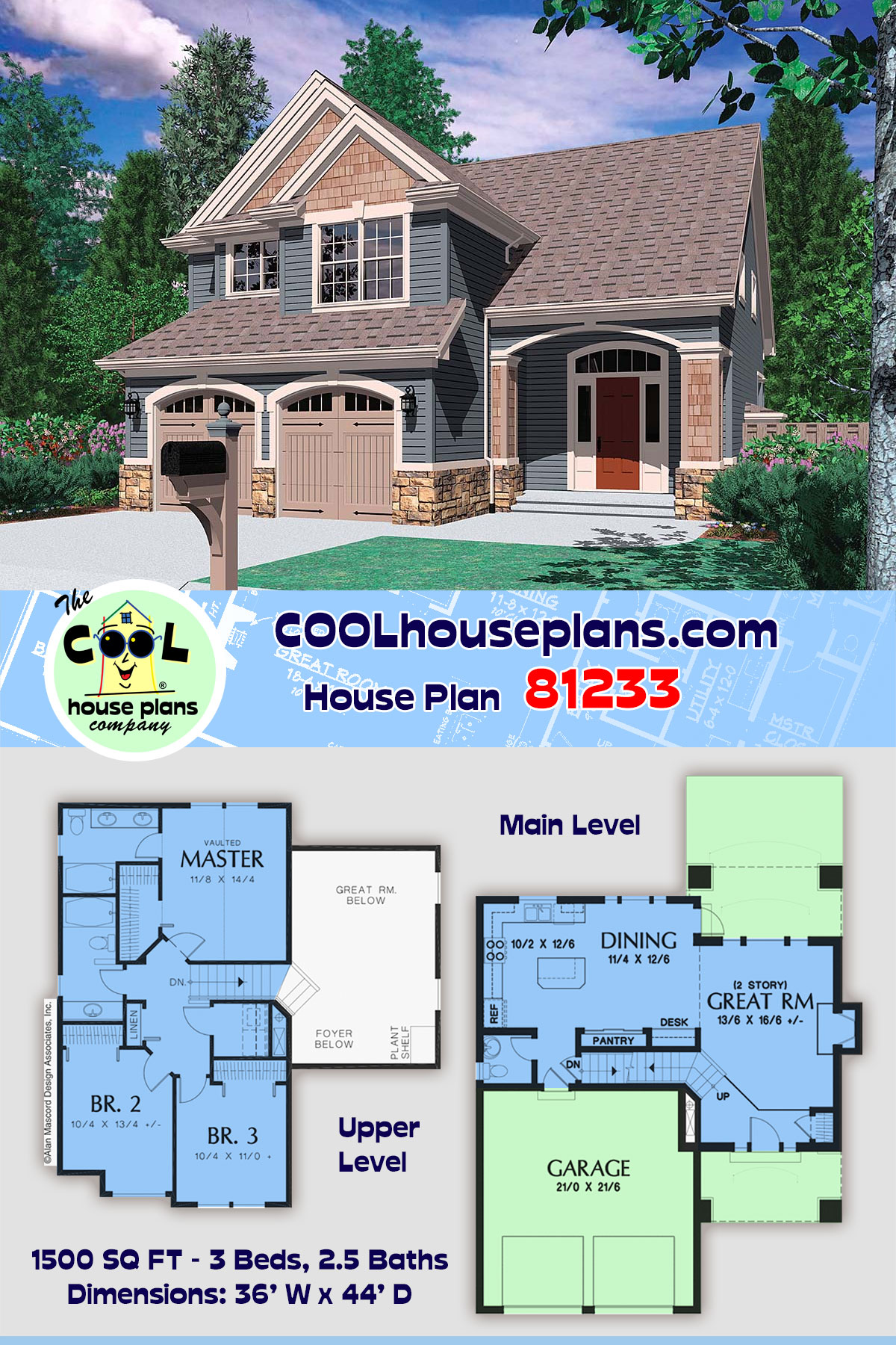 Craftsman, Traditional House Plan 81233 with 3 Beds, 3 Baths, 2 Car Garage