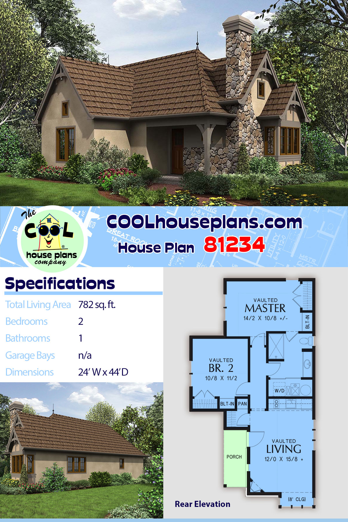 Cottage, French Country, Tudor 0 Car Garage Plan 81234 with 2 Beds, 1 Baths