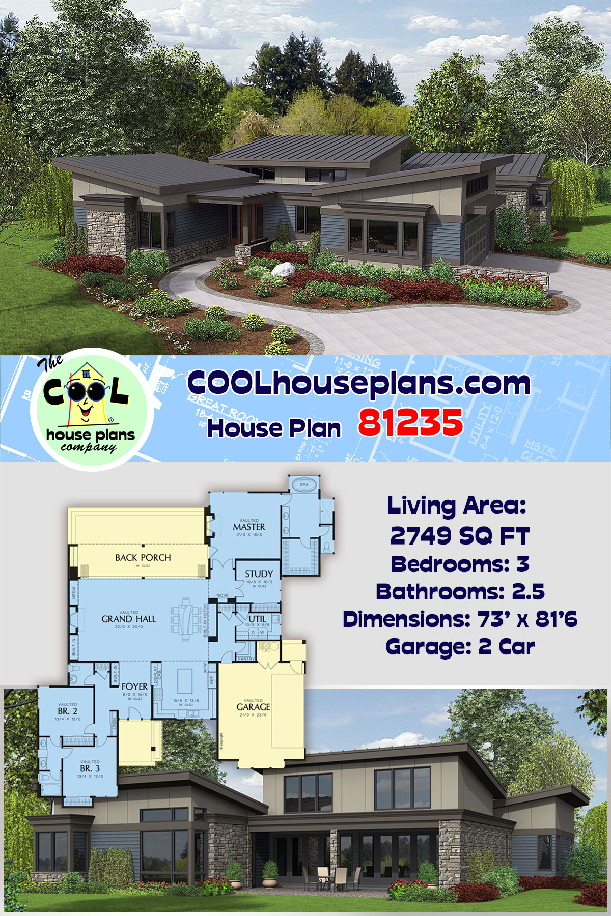 Contemporary, Modern House Plan 81235 with 3 Beds, 3 Baths, 2 Car Garage