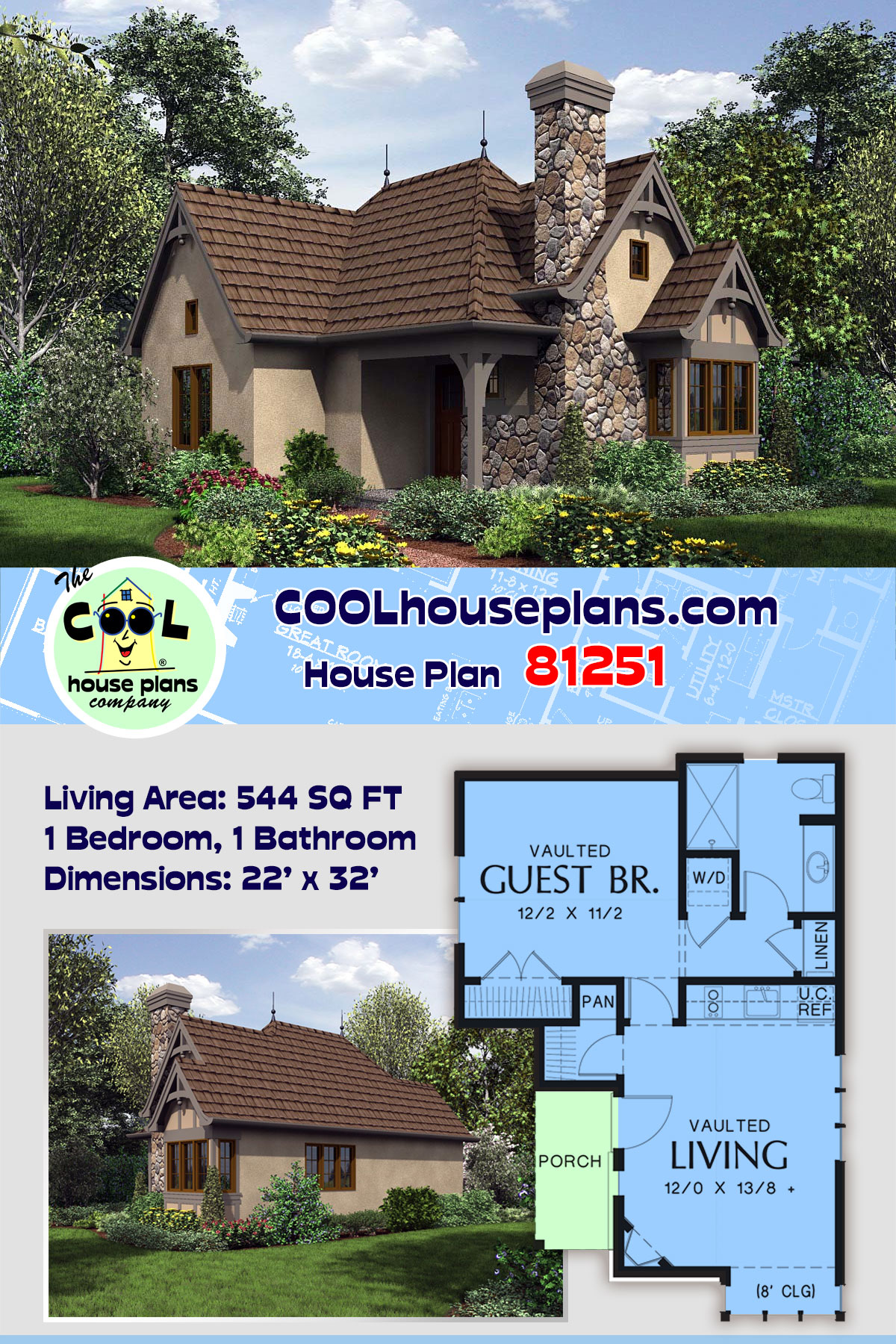 Cottage, Craftsman, One-Story, Tuscan House Plan 81251 with 1 Beds, 1 Baths