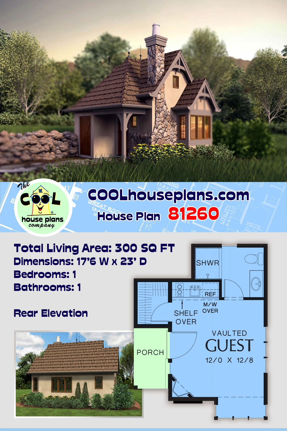Cabin, Cottage, Narrow Lot, One-Story House Plan 81260 with 1 Beds, 1 Baths