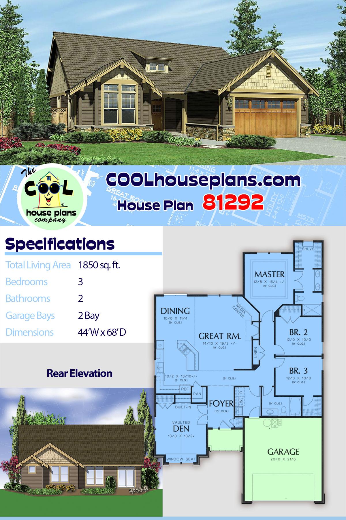 Bungalow, Craftsman, Narrow Lot House Plan 81292 with 3 Beds, 2 Baths, 2 Car Garage