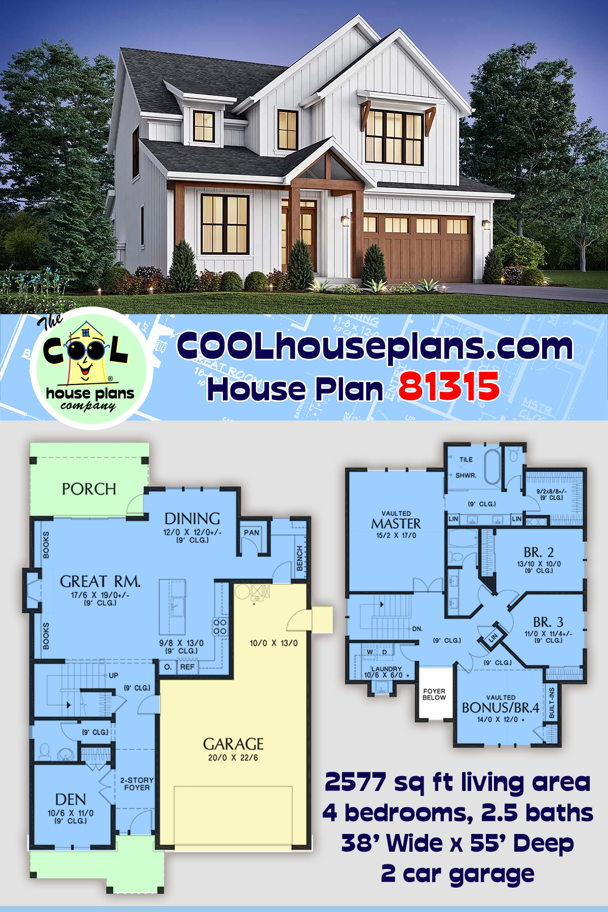 Contemporary, Cottage, Country, Farmhouse House Plan 81315 with 4 Beds, 3 Baths, 2 Car Garage