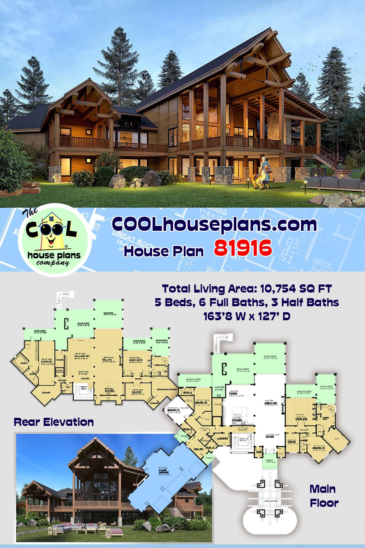 Craftsman, Log House Plan 81916 with 5 Beds, 9 Baths, 4 Car Garage