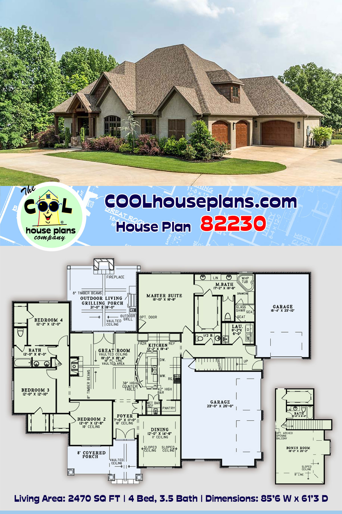 Craftsman, European House Plan 82230 with 4 Beds, 4 Baths, 3 Car Garage
