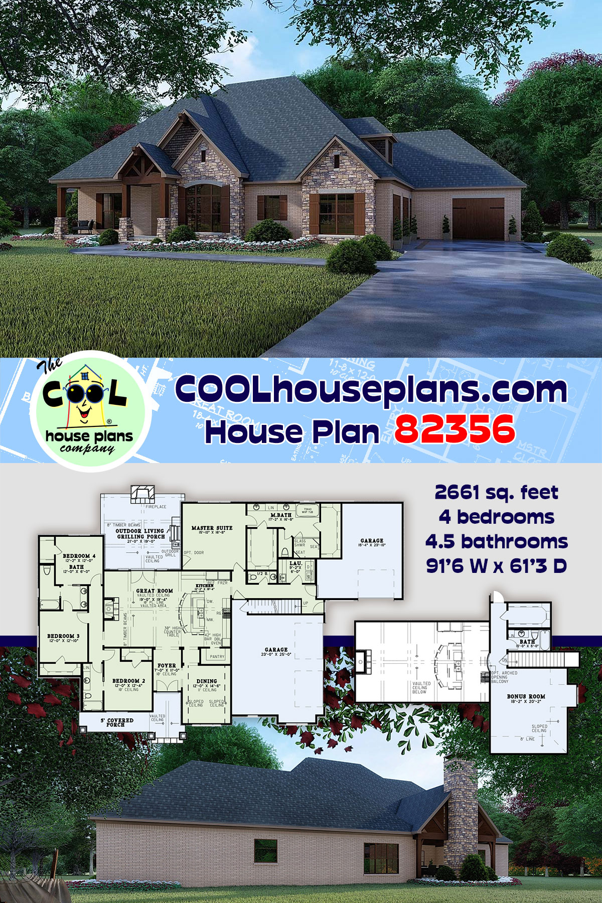 Craftsman, European House Plan 82356 with 4 Beds, 5 Baths, 3 Car Garage