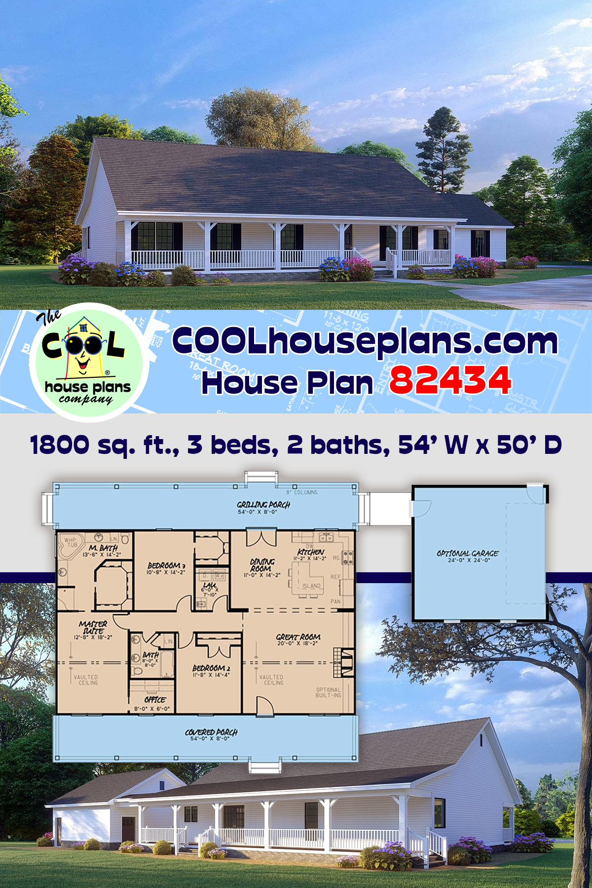 Cabin, Country, Ranch House Plan 82434 with 3 Beds, 2 Baths, 2 Car Garage