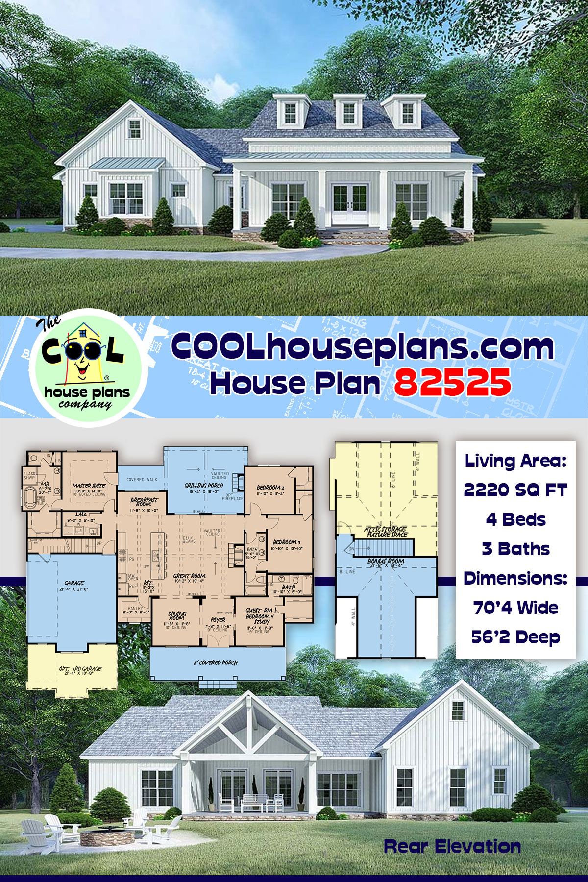 Bungalow, Country, Craftsman, Farmhouse, Modern, Traditional House Plan 82525 with 4 Beds, 4 Baths, 2 Car Garage