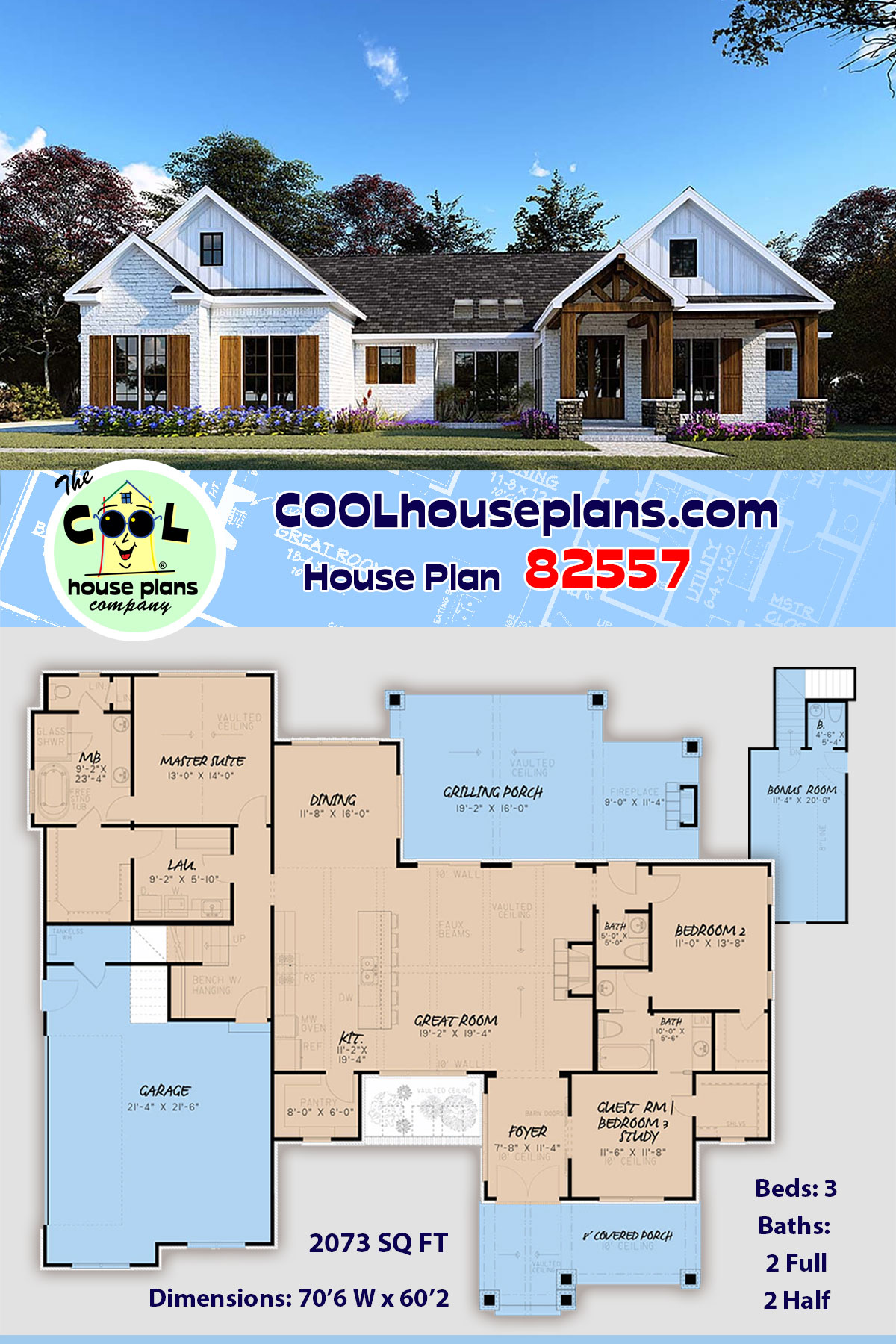 Bungalow, Craftsman, Farmhouse, One-Story House Plan 82557 with 3 Beds, 4 Baths, 2 Car Garage