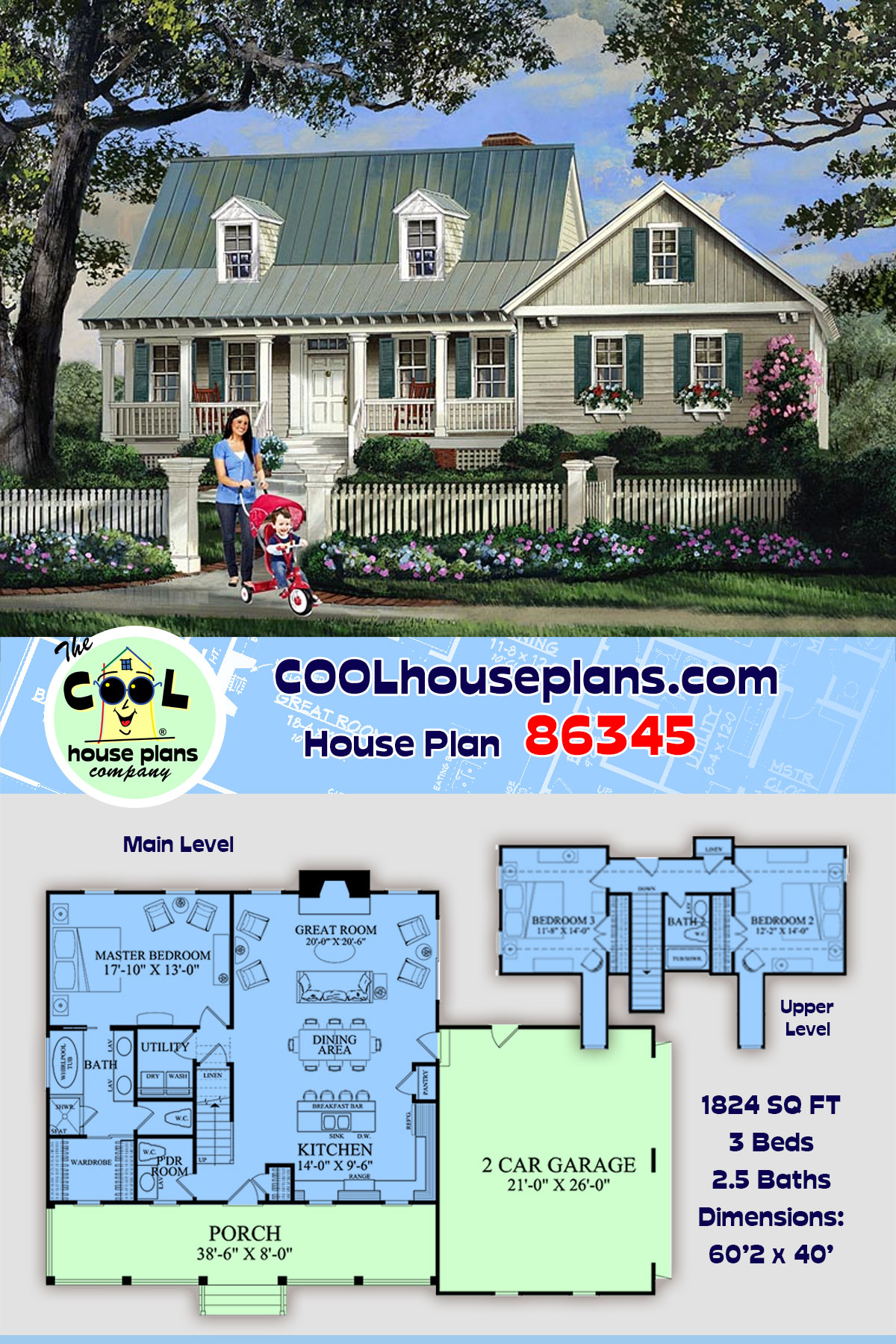 Cape Cod, Country, Southern House Plan 86345 with 3 Beds, 3 Baths, 2 Car Garage