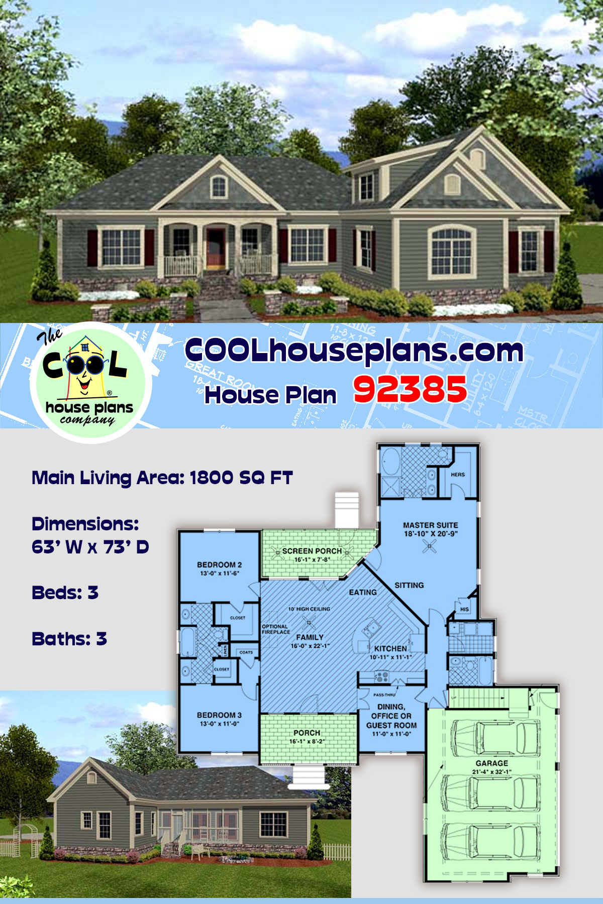 Country, Craftsman House Plan 92385 with 3 Beds, 3 Baths, 3 Car Garage