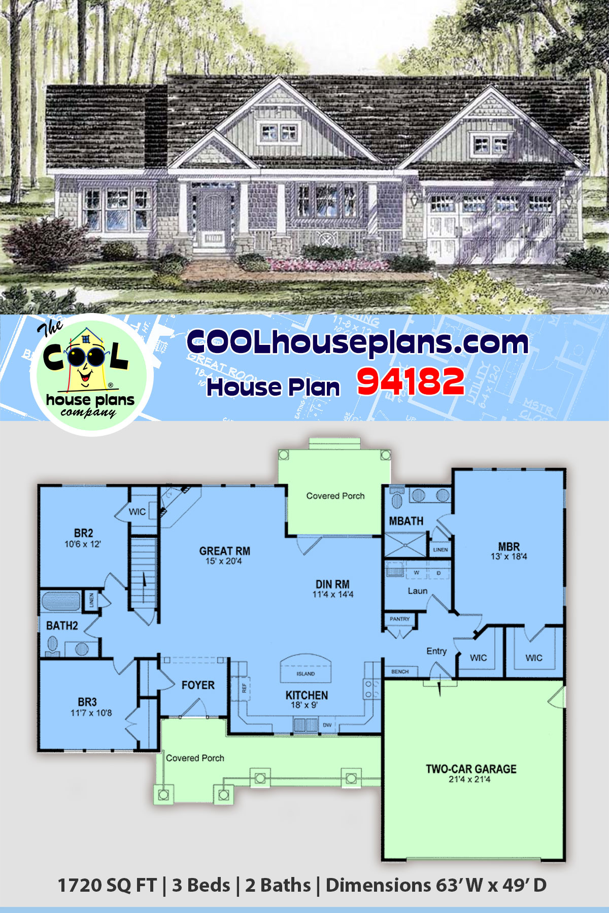 Cottage, Country, Craftsman, Ranch, Southern, Traditional House Plan 94182 with 3 Beds, 2 Baths, 2 Car Garage