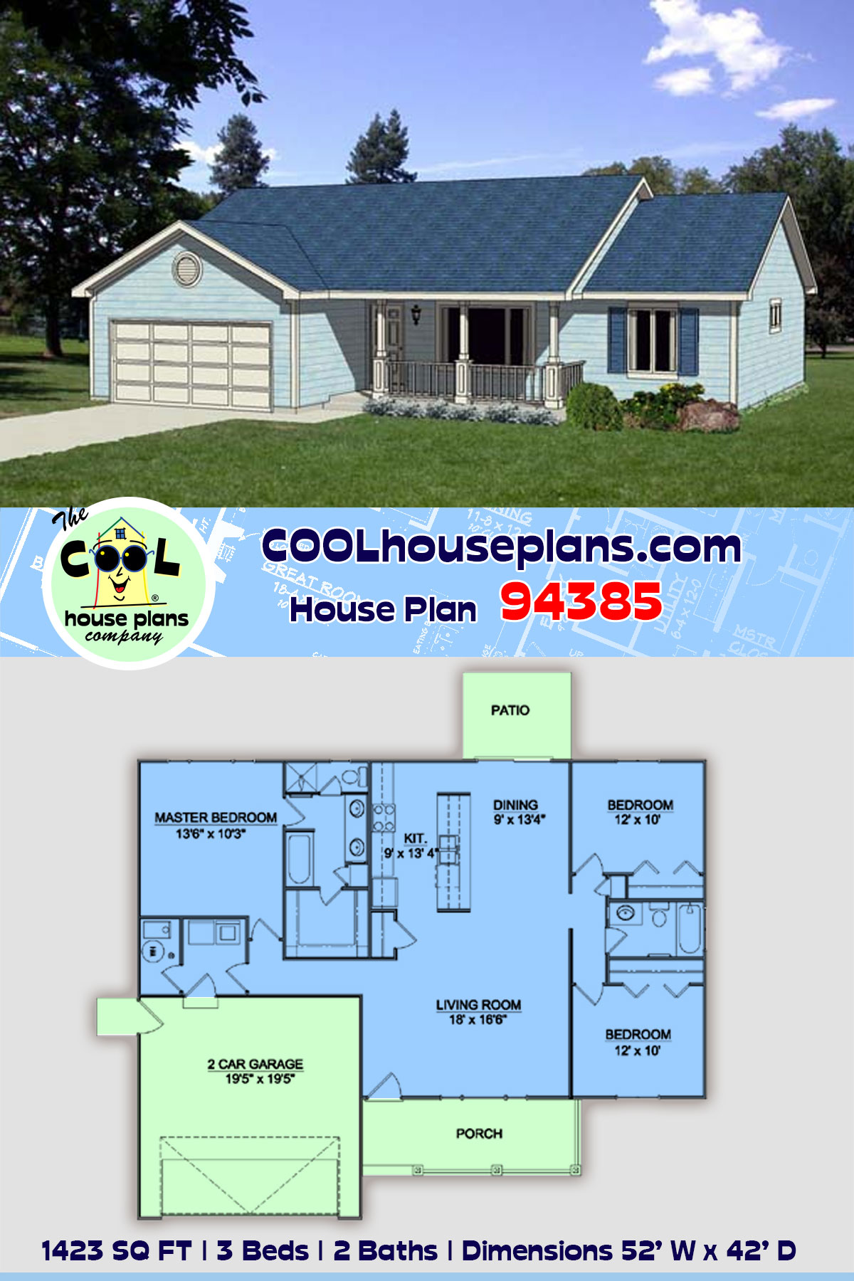 Ranch, Traditional House Plan 94385 with 3 Beds, 2 Baths, 2 Car Garage
