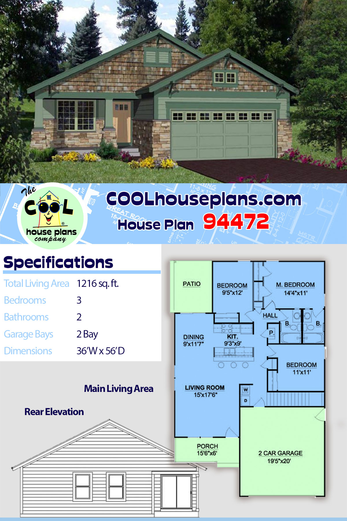 Craftsman House Plan 94472 with 3 Beds, 2 Baths, 2 Car Garage
