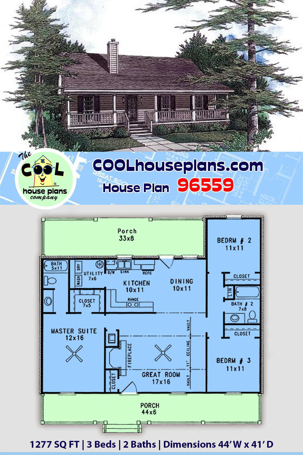 Cabin, Country, Ranch House Plan 96559 with 3 Beds, 2 Baths