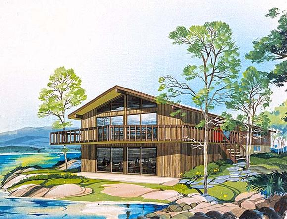 Contemporary, Narrow Lot, Retro House Plan 10138 with 4 Beds, 3 Baths Elevation