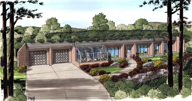 Contemporary, Earth Sheltered, Retro House Plan 10376 with 3 Beds, 2 Baths, 2 Car Garage Elevation