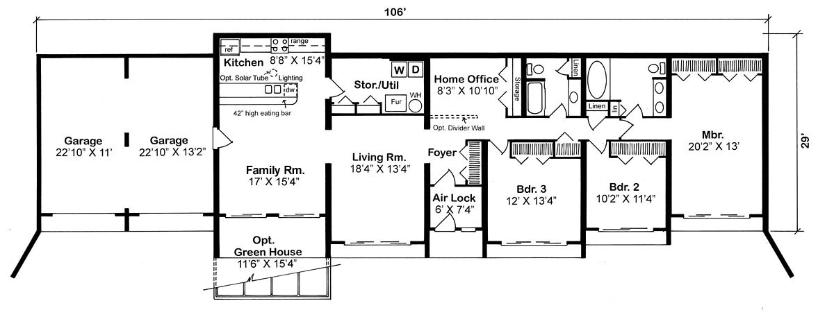 Contemporary, Earth Sheltered, Retro House Plan 10376 with 3 Beds, 2 Baths, 2 Car Garage Picture 1