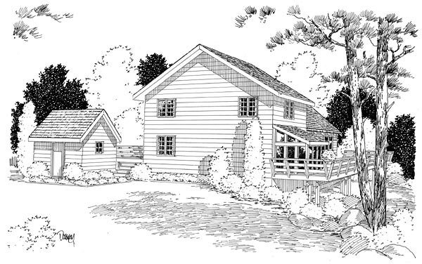 A-Frame, Cabin, Contemporary House Plan 10515 with 3 Beds, 3 Baths Rear Elevation