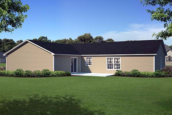 Country, Ranch, Traditional House Plan 10674 with 3 Beds, 2 Baths, 2 Car Garage Rear Elevation
