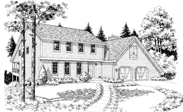 Colonial, Saltbox House Plan 10829 with 4 Beds, 3 Baths, 2 Car Garage Elevation